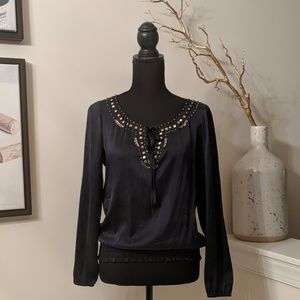 Cache Silk Embellished Top